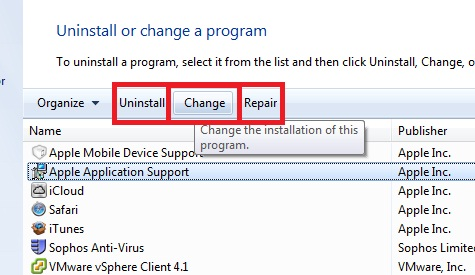 Windows – Change visibility of Control Panel Remove/Repair/Change buttons