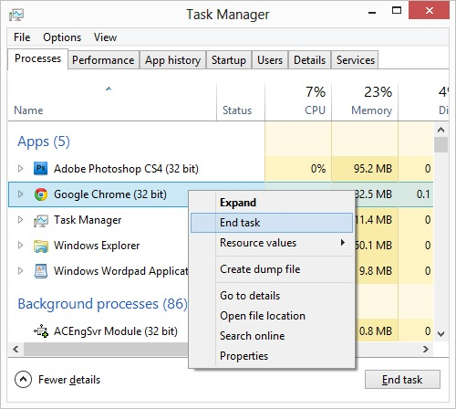 Task Manager Close Processes